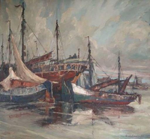 Auguste VAN DE CASTEELE - Peinture - marine