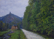 Gustave CARIOT - 绘画 - Chemin le soir, près de Wiesbaden