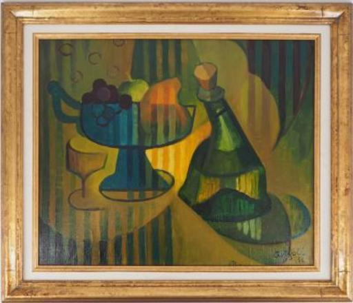 Louis TOFFOLI - Painting - Still life: compote dish and bottle