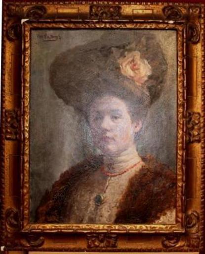 Vikke VAN DER BERGH - Gemälde - élégante au chapeau