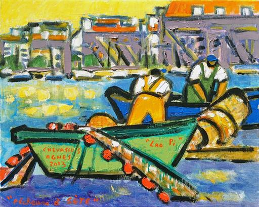 Jean-Pierre CHEVASSUS-AGNES - Peinture - Pêcheurs à Séte