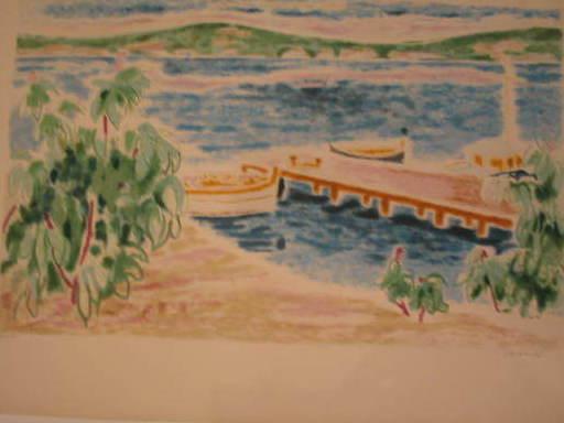 """Jules CAVAILLES - Estampe-Multiple - Cannes:""""L'Embarcadère"""" 1958"""