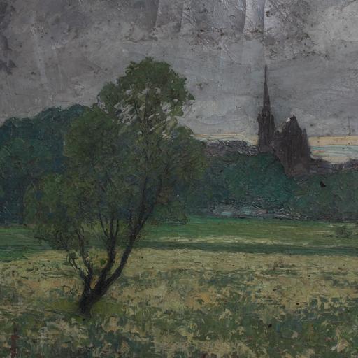 François-Emile DECORCHEMONT - Painting - Paysage de campagne, vue sur église
