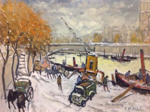 Charles MALLE - Pintura - Paris, boulevard de Seine, l'attelage
