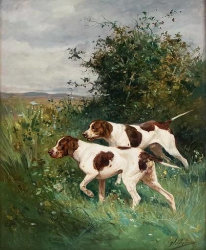 Olivier Charles DE PENNE - Painting - Chiens à l'arrêt.