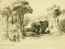 Camille PISSARRO - Drawing-Watercolor - Paysage avec Deux Personnages