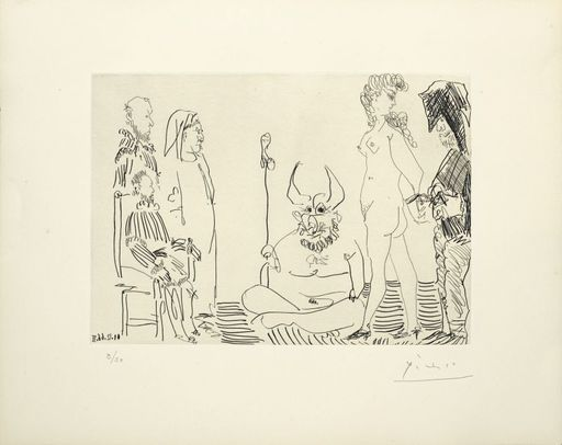 Pablo PICASSO - Print-Multiple - Le cocu assistant à la comparution devant l'inquisition d'un