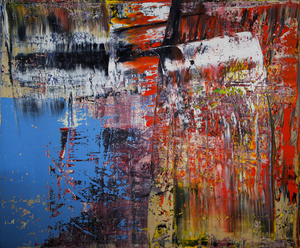 Harry James MOODY - Peinture - Abstract Sky Blue with Red n°478
