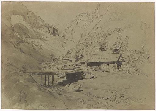 """Emerich FECHTER - Dibujo Acuarela - """"Alpine Landscape"""", late 19th Century"""