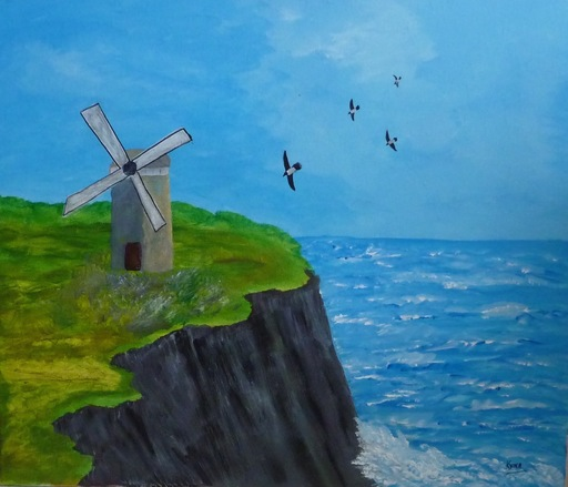 Kyna DE SCHOUEL - Peinture - Falaise au moulin