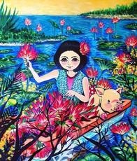 Seung-Hun SHIN - Painting - Fantasy Jejuisland- Island Girl Story