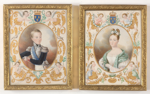 """Elie DIGNAT - 缩略图  - """"Henri d'Artois (?)"""", Important Watercolor Portrait!!, ca.18"""