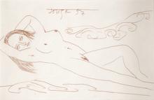 弗朗西斯•牛顿•苏沙 - 水彩作品 - Reclining Nude