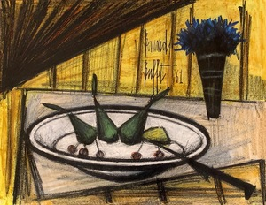 Bernard BUFFET - Dibujo Acuarela - Assiette de fruits