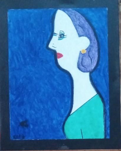 Harry BARTLETT FENNEY - Pittura - femme side view in blue (2019)