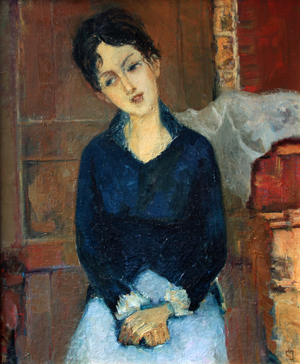 Levan URUSHADZE - Painting - Girl in a light blue skirt
