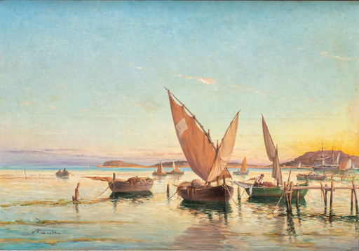 Victor COSTE - Gemälde - Marine view with boats