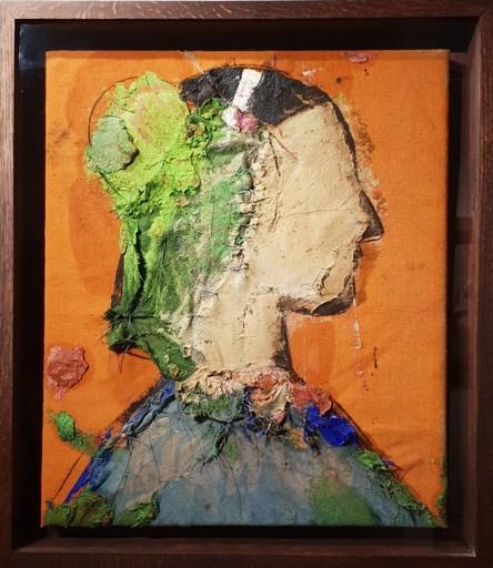 Manolo VALDÉS - Pintura - Perfil sobre fondo naranja