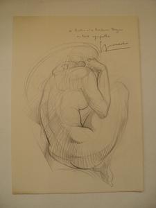 "Georges OUDOT, ""Nu"" dessin 1969"