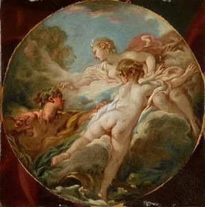 François BOUCHER - Peinture - Alphée et Aréthuse / Pan et Syrinx