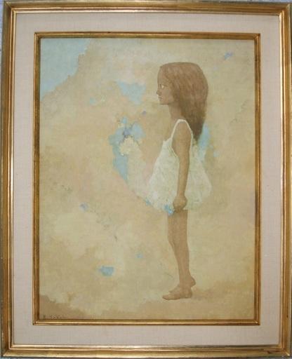 Ryonosuke FUKUI - Gemälde - Girl with Flowers