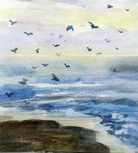 Galina VINDALOVSKAIA - Drawing-Watercolor - Sea Birds Waves