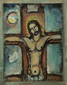 Georges ROUAULT - Painting - Christ en croix ou Christ