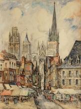 FRANK-WILL - Zeichnung Aquarell - Rue de l'Epicerie à Rouen