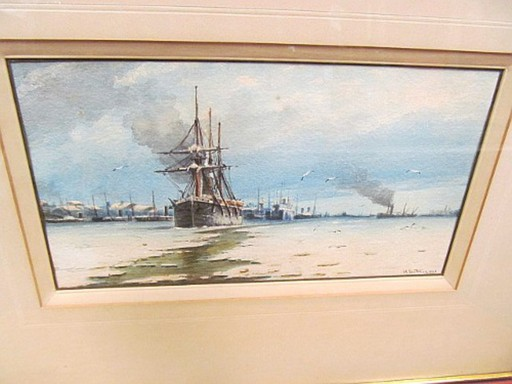 Heinrich LEITNER - Zeichnung Aquarell - Schiffe im winterlichen Hafen