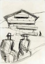Alfons WALDE - Drawing-Watercolor - Bauernpaar vor dem Hof