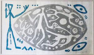 A.R. PENCK - Print-Multiple - Weltbild blau-silber