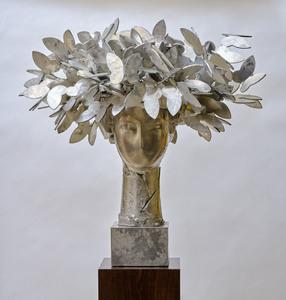 Manolo VALDÉS - Sculpture-Volume - Cabeza con mariposas (plateada)