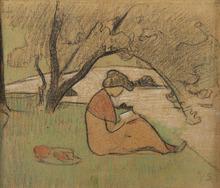 保罗·塞律西埃 - 水彩作品 - Marguerite Sérusier lisant près de la rivière