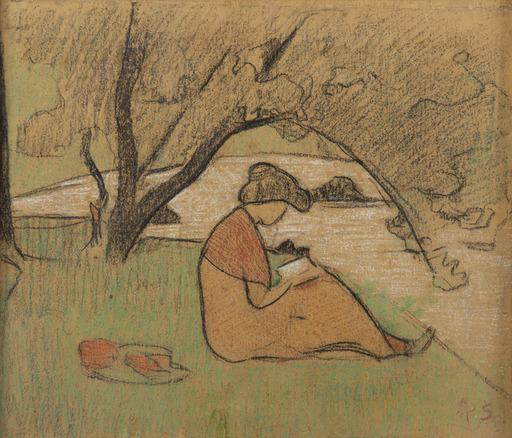 Paul SÉRUSIER - Drawing-Watercolor - Marguerite Sérusier lisant près de la rivière