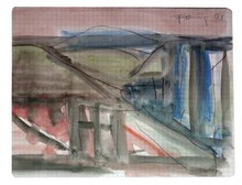 Günther FÖRG - Drawing-Watercolor - Landscape with Roofs