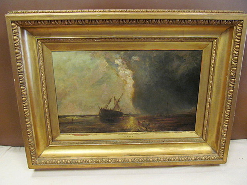 David I COX - Peinture - On the Lancaster Sands