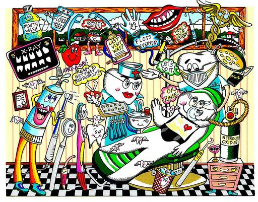 Charles FAZZINO - Druckgrafik-Multiple - A dose of Dental Hyjinx