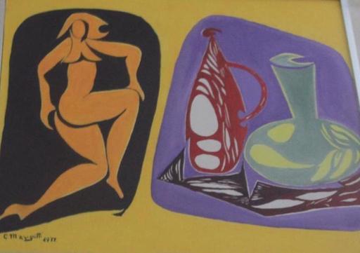 Giuseppe MARGUTTI - Painting - donna con vaso