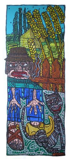 """Robert COMBAS - Gemälde - """" Le paysan CARABOCHE et son chat Milou"""""""