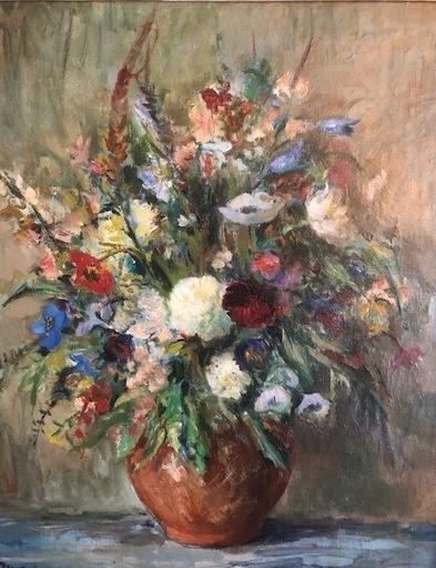 Tibor DENGYEL - Peinture - Bouquet de fleurs bleues