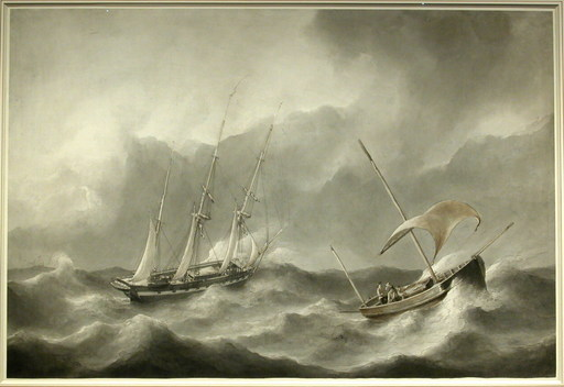 Petrus Johannes SCHOTEL - 水彩作品 - Ships in Rough Water