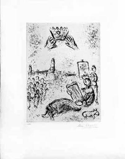 Marc CHAGALL - Grabado - La tour du Roi David