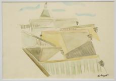 "Albert HUYOT - Drawing-Watercolor - ""Cubist urban landscape""  Circa 1917-1920"