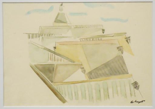 "Albert HUYOT - Dibujo Acuarela - ""Cubist urban landscape""  Circa 1917-1920"