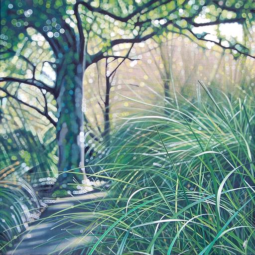 AGATE - Painting - Grand arbre et hautes herbes