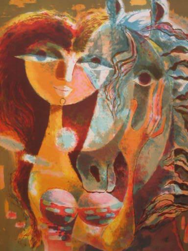 René MARGOTTON - Stampa Multiplo - La femme et le cheval,1968.