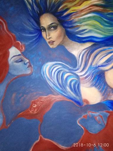 Ellina KATSNELSON - Painting - The Flower of Love