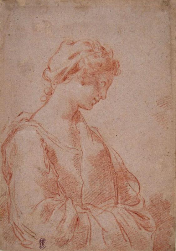 Ubaldo GANDOLFI - Drawing-Watercolor - Ritratto di giovane donna in profilo verso destra