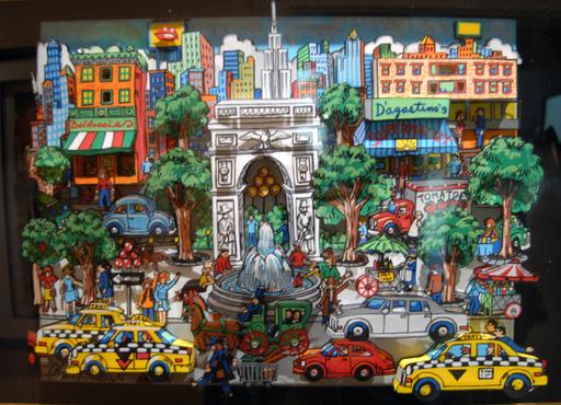 Charles FAZZINO - 绘画 - Lot of Taxi in NY