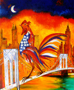 Marie-France BUSSET - Peinture - LE COQ A NEW YORK SUR LE PONT DE BROOKLYN